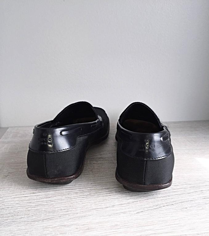 Men's Gucci by Tom Ford 1990s Size 8 Black Nylon Vintage Loafers Shoes For Sale 4