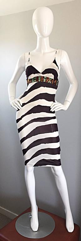 Vintage Gianfranco Ferre 1990s Brown + White Zebra Jeweled BodyCon Jersey Dress 2