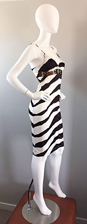 Vintage Gianfranco Ferre 1990s Brown + White Zebra Jeweled BodyCon Jersey Dress 5