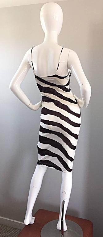 Vintage Gianfranco Ferre 1990s Brown + White Zebra Jeweled BodyCon Jersey Dress 6