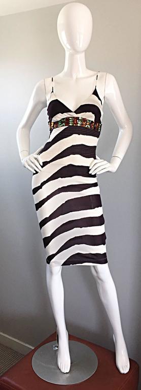 Vintage Gianfranco Ferre 1990s Brown + White Zebra Jeweled BodyCon Jersey Dress For Sale 2