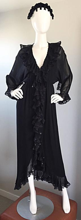 Incredible Vintage Bill Blass Black Silk Chiffon Ruffled Sequin Boho 70s Dress For Sale 1