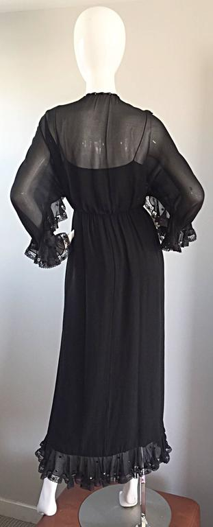 Women's Incredible Vintage Bill Blass Black Silk Chiffon Ruffled Sequin Boho 70s Dress For Sale