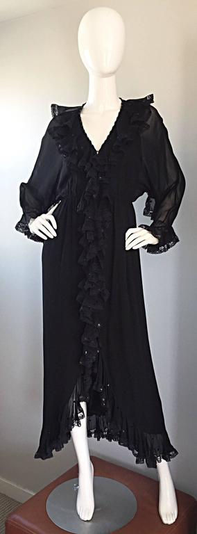Incredible Vintage Bill Blass Black Silk Chiffon Ruffled Sequin Boho 70s Dress For Sale 5