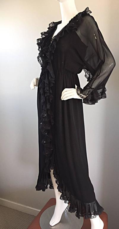 Incredible Vintage Bill Blass Black Silk Chiffon Ruffled Sequin Boho 70s Dress For Sale 3