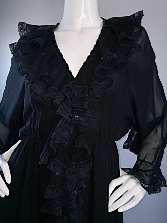 Incredible Vintage Bill Blass Black Silk Chiffon Ruffled Sequin Boho 70s Dress For Sale 2