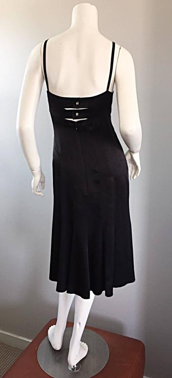 Chanel Black Silk 20s Inspired Cage Back Flowy Dress By