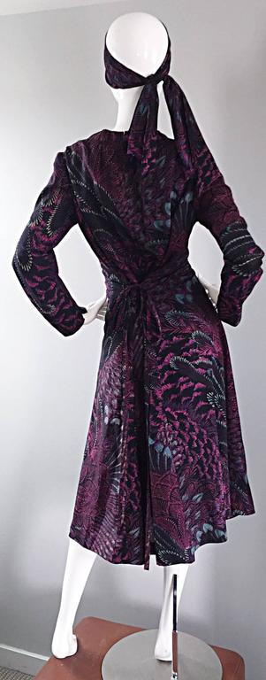 Women's Incredible 1970s Pauline Trigere ' Peacock Feather ' Vintage Dress & Head Scarf For Sale