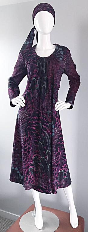 Amazing 70s PAULINE TRIGERE peacock feather printed trapeze dress and head scarf set! Sleek long sleeves, with a full trapeze fit, that can be adjusted with the attached ribbon (in the same print) on the back. The perfect length that falls below the