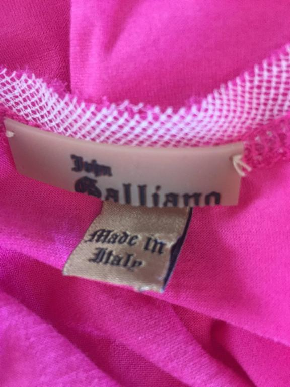 John Galliano Hot Pink + White Sleeveless Cotton Blouse w/ Lace Cut - Outs  For Sale 6