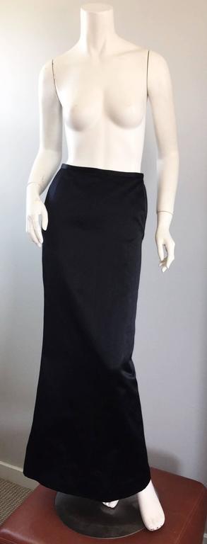 Exceptional Vintage Oscar de la Renta Black Silk Satin Full Length Evening Skirt For Sale 4