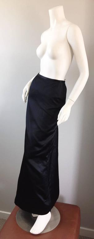 Exceptional Vintage Oscar de la Renta Black Silk Satin Full Length Evening Skirt For Sale 1