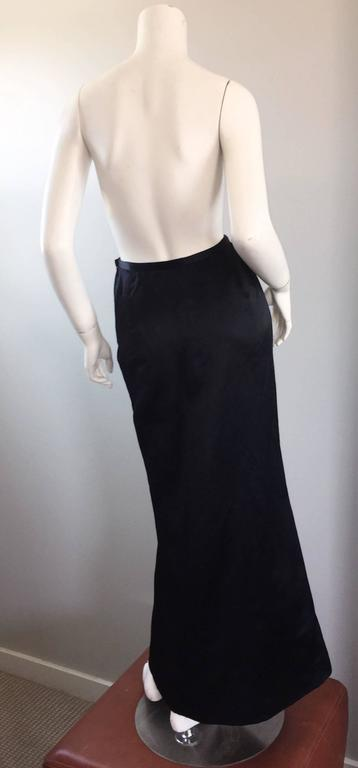 Women's Exceptional Vintage Oscar de la Renta Black Silk Satin Full Length Evening Skirt For Sale