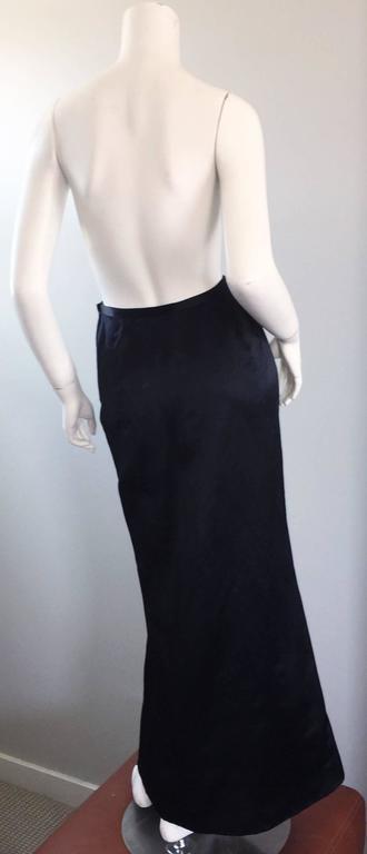 Exceptional Vintage Oscar de la Renta Black Silk Satin Full Length Evening Skirt For Sale 3