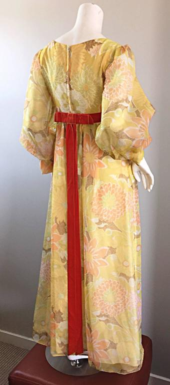 Beautiful 1970s Emma Domb Yellow + Orange Flower Chiffon Long Sleeve Maxi Dress  For Sale 1