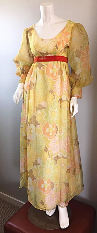Beige Beautiful 1970s Emma Domb Yellow + Orange Flower Chiffon Long Sleeve Maxi Dress  For Sale