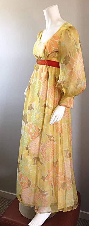 Beautiful 1970s Emma Domb Yellow + Orange Flower Chiffon Long Sleeve Maxi Dress  In Excellent Condition For Sale In Chicago, IL