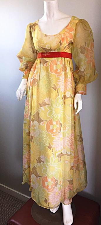 Beautiful 1970s Emma Domb Yellow + Orange Flower Chiffon Long Sleeve Maxi Dress  For Sale 2