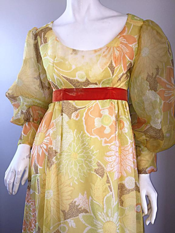 Women's Beautiful 1970s Emma Domb Yellow + Orange Flower Chiffon Long Sleeve Maxi Dress  For Sale