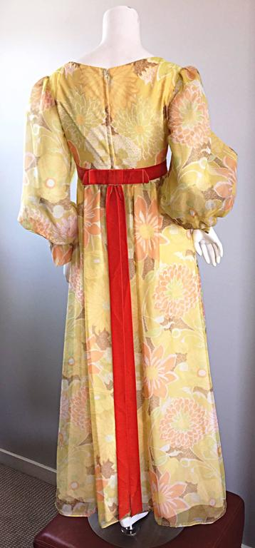 Beautiful 1970s Emma Domb Yellow + Orange Flower Chiffon Long Sleeve Maxi Dress  For Sale 3