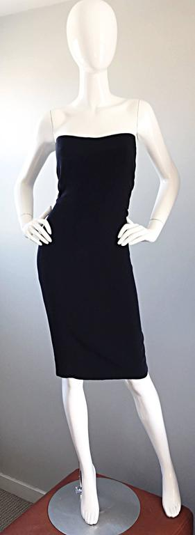 1990s James Purcell Couture Silk Strapless Vintage 90s Little Black Dress LBD 2