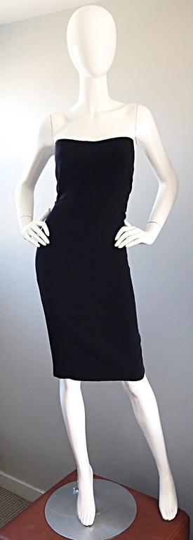 1990s James Purcell Couture Silk Strapless Vintage 90s Little Black Dress LBD 9