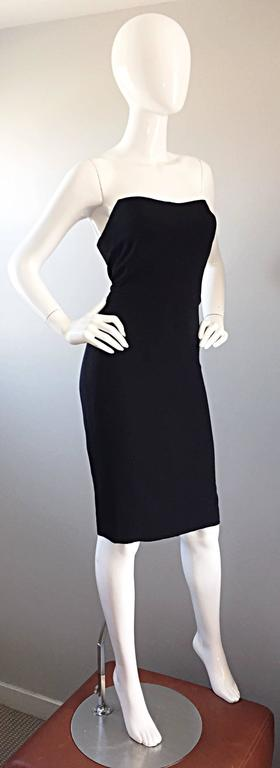1990s James Purcell Couture Silk Strapless Vintage 90s Little Black Dress LBD 3