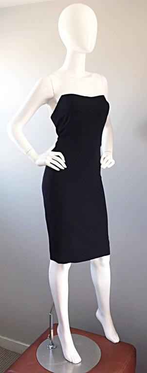 1990s James Purcell Couture Silk Strapless Vintage 90s Little Black Dress LBD 7
