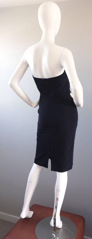 1990s James Purcell Couture Silk Strapless Vintage 90s Little Black Dress LBD 8