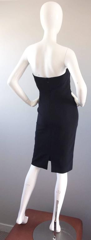 1990s James Purcell Couture Silk Strapless Vintage 90s Little Black Dress LBD 6