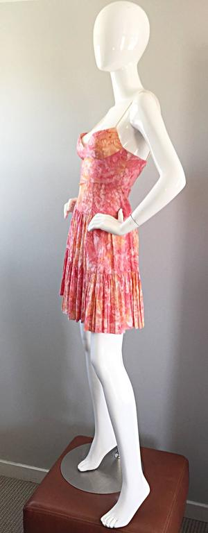Tracy Feith Pink + Orange + White Watercolor print Tiered Dress w/ Rope Sleeves In Excellent Condition For Sale In Chicago, IL