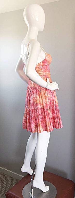 Women's Tracy Feith Pink + Orange + White Watercolor print Tiered Dress w/ Rope Sleeves For Sale