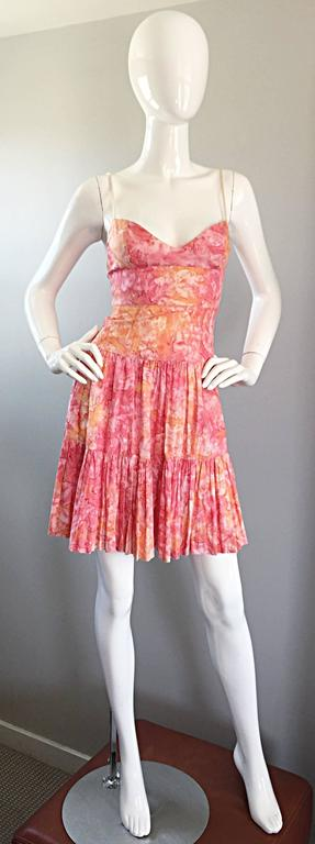 Tracy Feith Pink + Orange + White Watercolor print Tiered Dress w/ Rope Sleeves For Sale 5