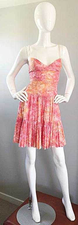 Tracy Feith Pink + Orange + White Watercolor print Tiered Dress w/ Rope Sleeves For Sale 2