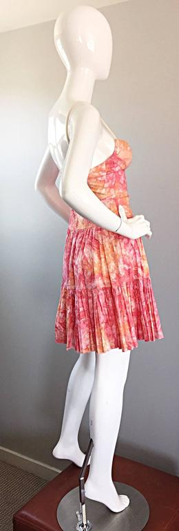 Tracy Feith Pink + Orange + White Watercolor print Tiered Dress w/ Rope Sleeves For Sale 4