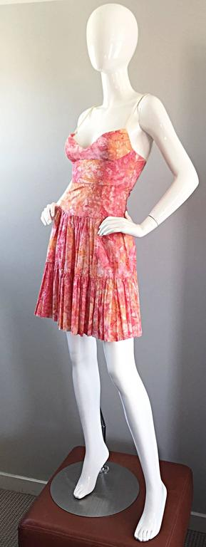 Tracy Feith Pink + Orange + White Watercolor print Tiered Dress w/ Rope Sleeves For Sale 3
