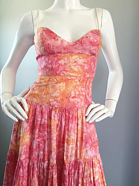 Tracy Feith Pink + Orange + White Watercolor print Tiered Dress w/ Rope Sleeves For Sale 1