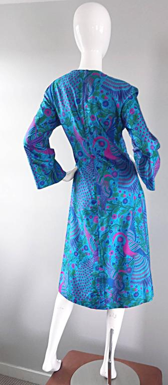 Amazing 1960s 60s Silk Peacock Bird Print Blue A Line Long