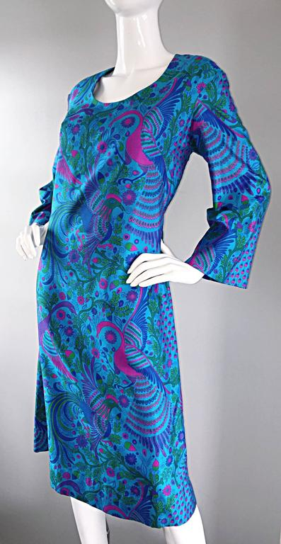 Amazing 1960s 60s Silk Peacock Bird Print Blue A Line Long