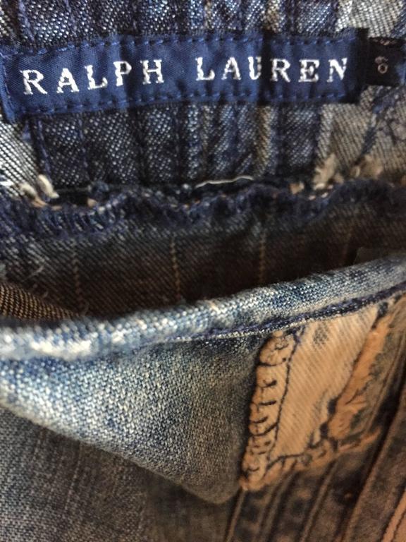Rare Ralph Lauren ' Blue Label ' 1990s Patchwork Distressed Denim Corset Dress 10