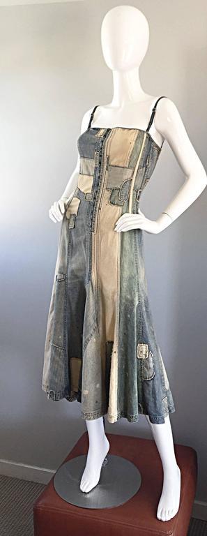 Rare Ralph Lauren ' Blue Label ' 1990s Patchwork Distressed Denim Corset Dress 7