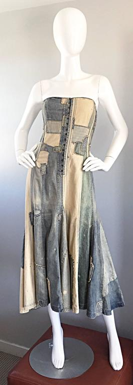 Rare Ralph Lauren ' Blue Label ' 1990s Patchwork Distressed Denim Corset Dress 3