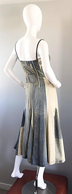 Rare Ralph Lauren ' Blue Label ' 1990s Patchwork Distressed Denim Corset Dress 6