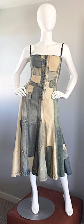 "Incredible and rare 90s vintage RALPH LAUREN 'Blue Label"" patchwork distressed denim corset dress! Features convertible straps to make the dress strapless (see photos). Straps also can be adjusted to make longer or shorter. 1920s-1940s vintage"