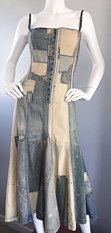 Rare Ralph Lauren ' Blue Label ' 1990s Patchwork Distressed Denim Corset Dress 9