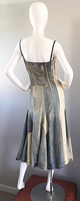Rare Ralph Lauren ' Blue Label ' 1990s Patchwork Distressed Denim Corset Dress 5