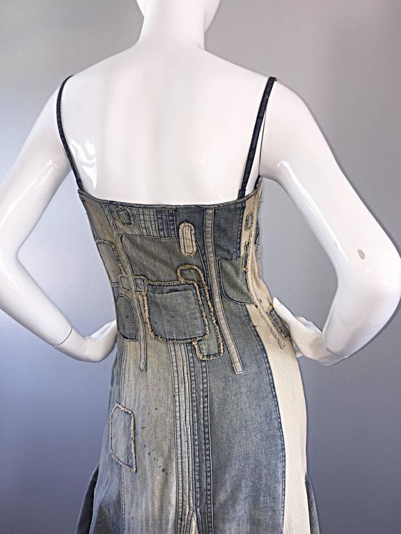 Rare Ralph Lauren ' Blue Label ' 1990s Patchwork Distressed Denim Corset Dress 8