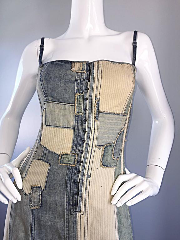 Rare Ralph Lauren ' Blue Label ' 1990s Patchwork Distressed Denim Corset Dress In Excellent Condition For Sale In San Francisco, CA
