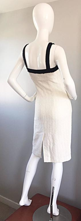 Michael Kors Collection White and Black Textured Cotton + Silk Signature Dress 8
