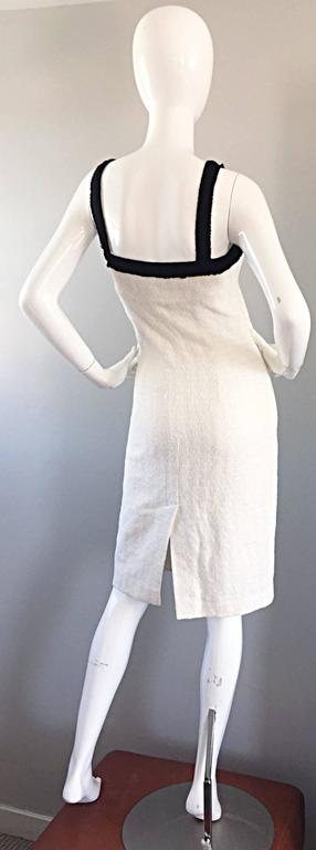 Michael Kors Collection White and Black Textured Cotton + Silk Signature Dress In Excellent Condition For Sale In San Francisco, CA
